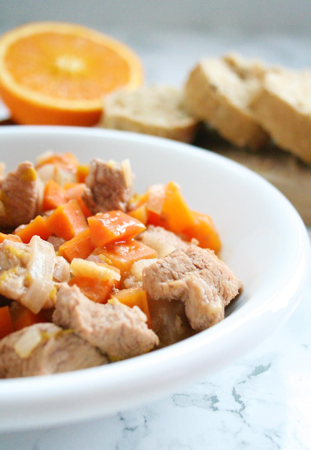 Verantwoord snoepen: Stoofpotje met kalfsvlees, sinaasappel, wortel en port