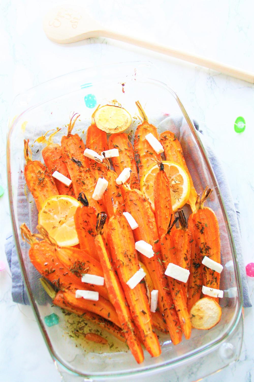 Frisse zoete wortel met citroen en feta