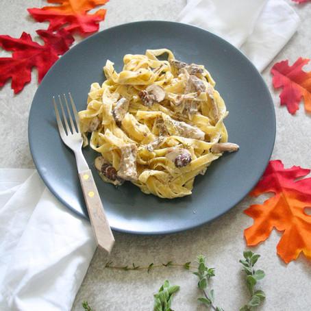 Pasta met paddestoelen en geitenkaas