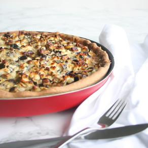 Hartige taart met aubergine en gorgonzola