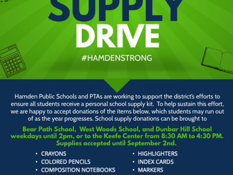 Help Hamden Students: School Supply Drive EXTENDED