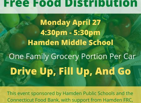 Free Food Distribution Event:  Monday, April 27th