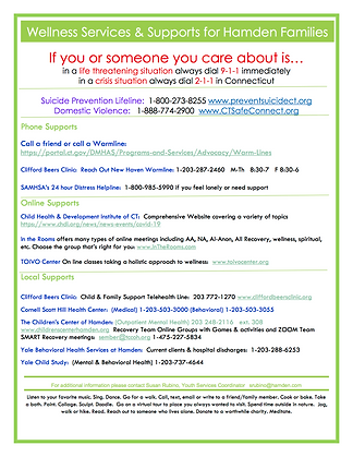 Wellness Supports available to Hamden Re