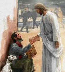 Jesus giving bread to man