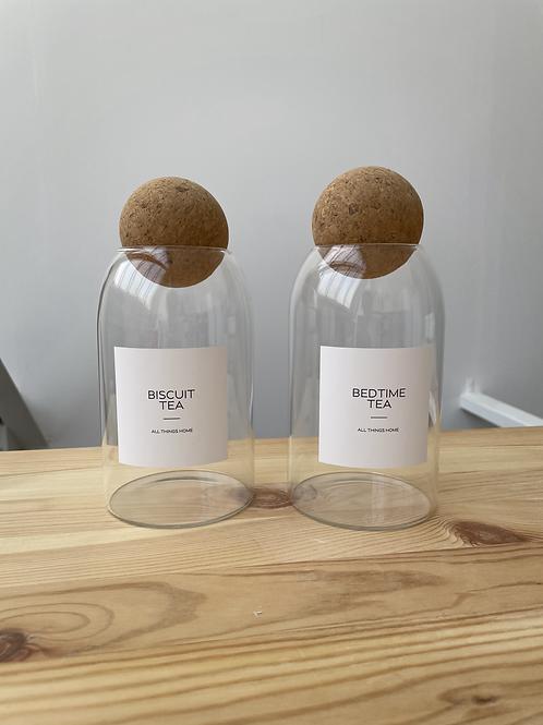 0.8L Cork Ball Jar with White Waterproof Label