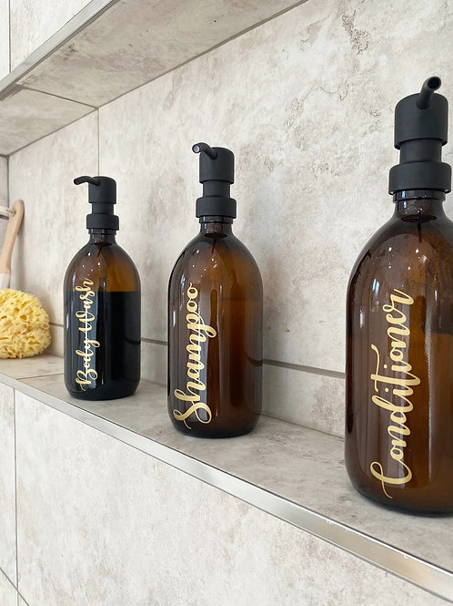 Glass Amber Toiletry Bottles