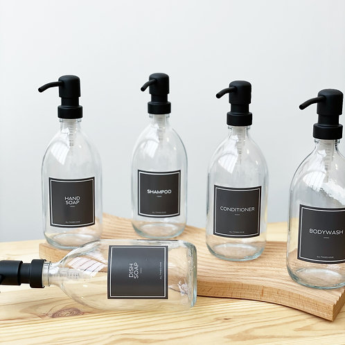 500ml The Modern Collection Black Label Clear Glass Toiletry Bottles with Metal