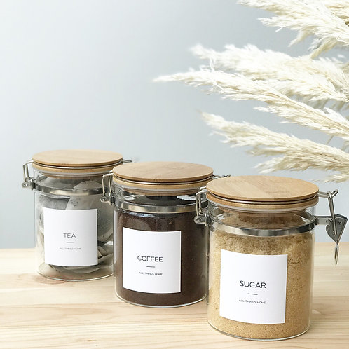 Set of 3 Tea Coffee and Sugar Clip Top Glass Jar with Bamboo Lid - 0.8L