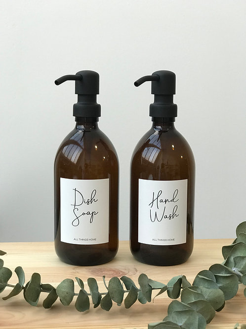 500ml Amber GLASS Bottles with Metal pump Modern White Label