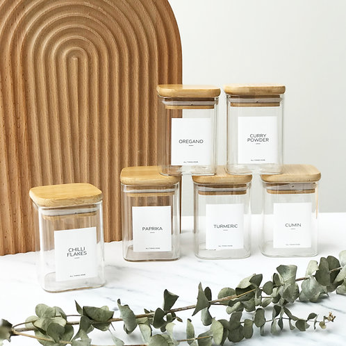 Square 200ML Bamboo Spice Jars with Modern White Label