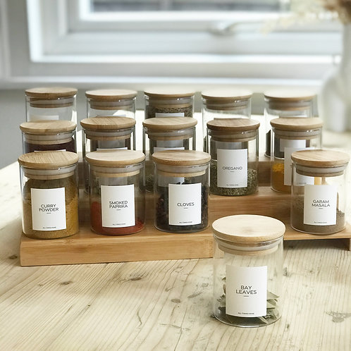 200ML Modern Collection Bamboo Spice Jars