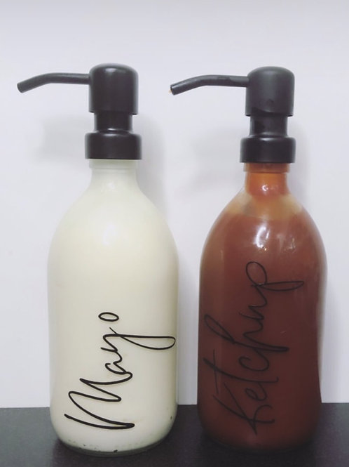 500ml Clear Glass Condiment Bottles