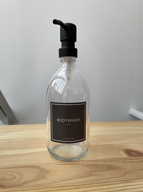 Black Label BODYWASH Glass Bottle with Black Pump- SEE PHOTOS FOR DEFECTS