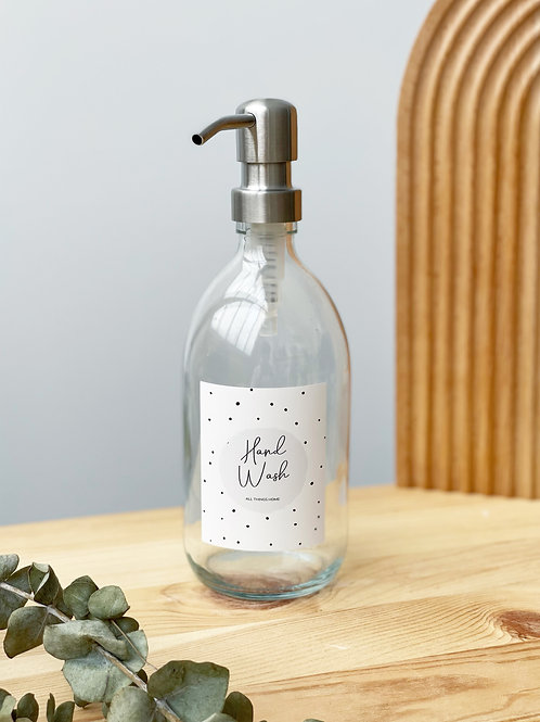 The Isabella Bottle - 500ML Clear GLASS bottle with metal pump