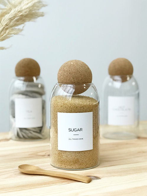 Modern White Label Glass Jar with cork ball stopper 0.8L