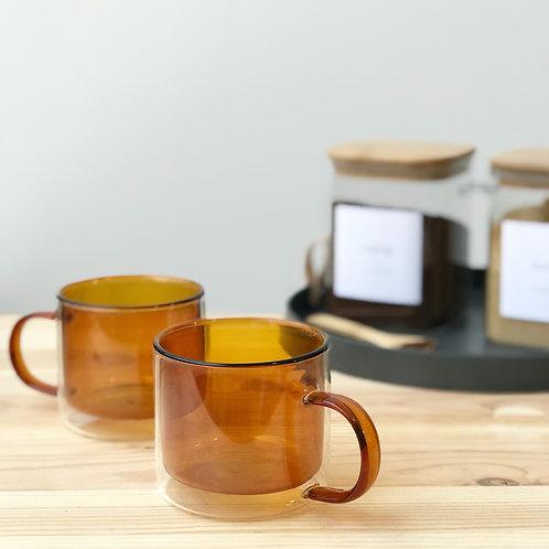 Burnt Orange Double Wall Glass Mug