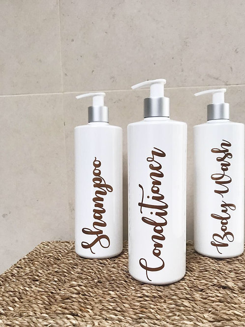 White reusable 500ML bathroom toiletry Bottles