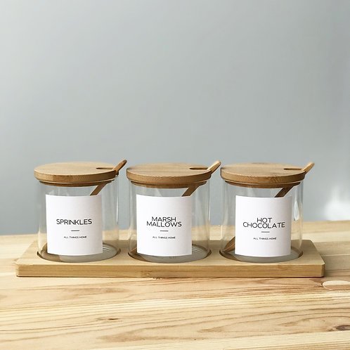 Set of 3 White Label Bamboo Glass Jars with spoon and Rectangular Tray