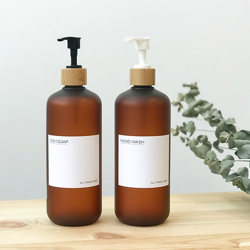 500ml Frosted Amber Modern White Label Bottles with Bamboo Pump