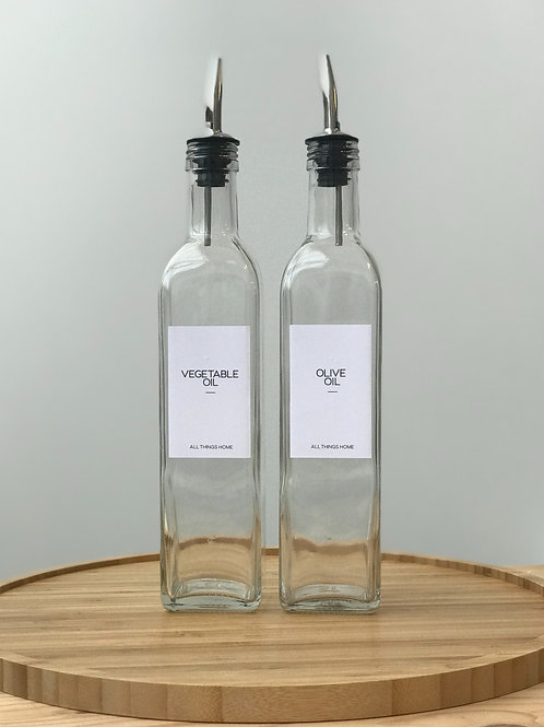 500ml Modern White Label Glass Oil Bottles with metal pourer