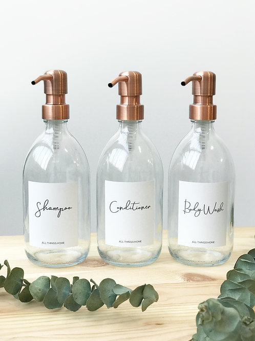 Set of 3 Modern White Label Glass Toiletry Bottles with Metal Pump