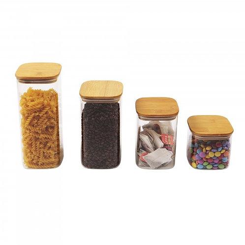 Bamboo Square Pantry Jars