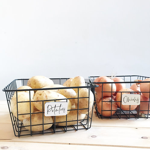 Wire Pantry Baskets with Personalised White Wooden Tag
