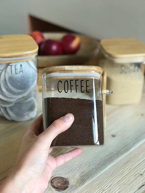 1L Square Glass Jar With Bamboo Lid and Spoon