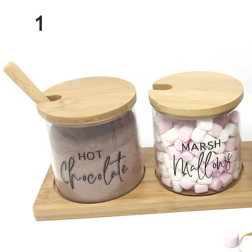 Set of 2 - 0.35L Hot Chocolate & Marshmallows Glass Jar with spoon, NO TRAY