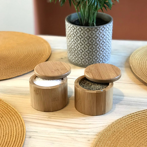 Set of 2 Bamboo Salt & Pepper Box