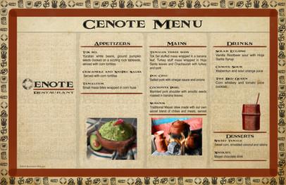 Mayan Adventure Land.Time Tours.Cenote Restaurant Menu