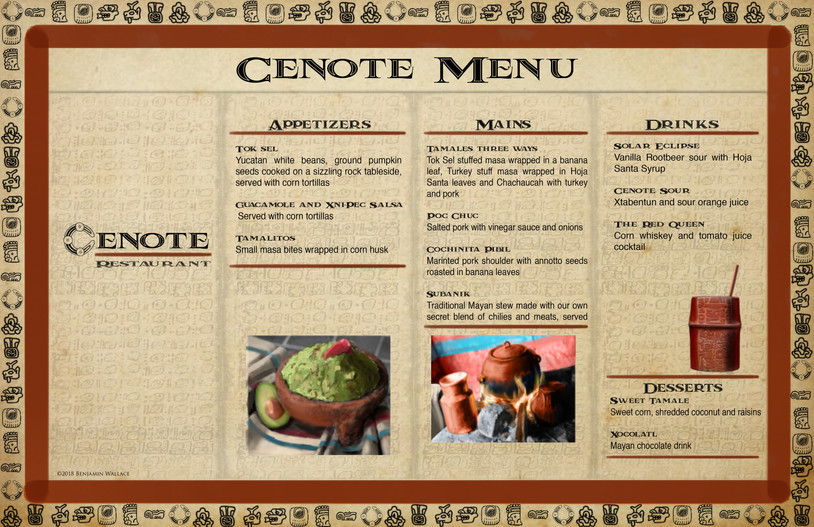 Mayan Adventure Land.Time Tours.Cenote Restaurant Menu