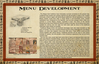 Mayan Adventure Land.Time Tours.Cenote Restaurant Menu Development
