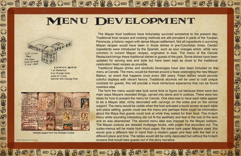 Mayan Adventure Land.Time Tours.Cenote Restaurant Menu Development
