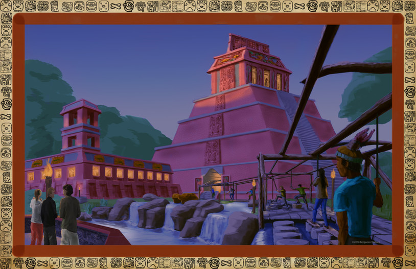 Mayan Adventure Land.Time Tours.Temple Exterior