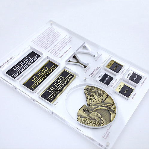 Embossed plaque etched plaque sample kit