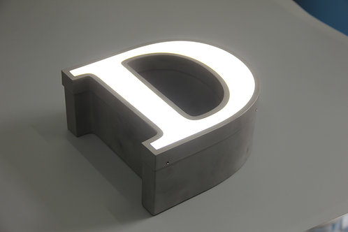 Stainless steel face lit sign letter with trim cap
