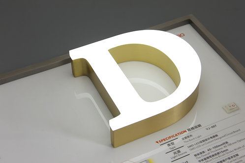 Metal fronlit letter without trim cap
