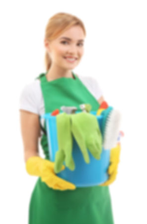 Home Cleaning West London - Young woman holding bucket with cleaning products
