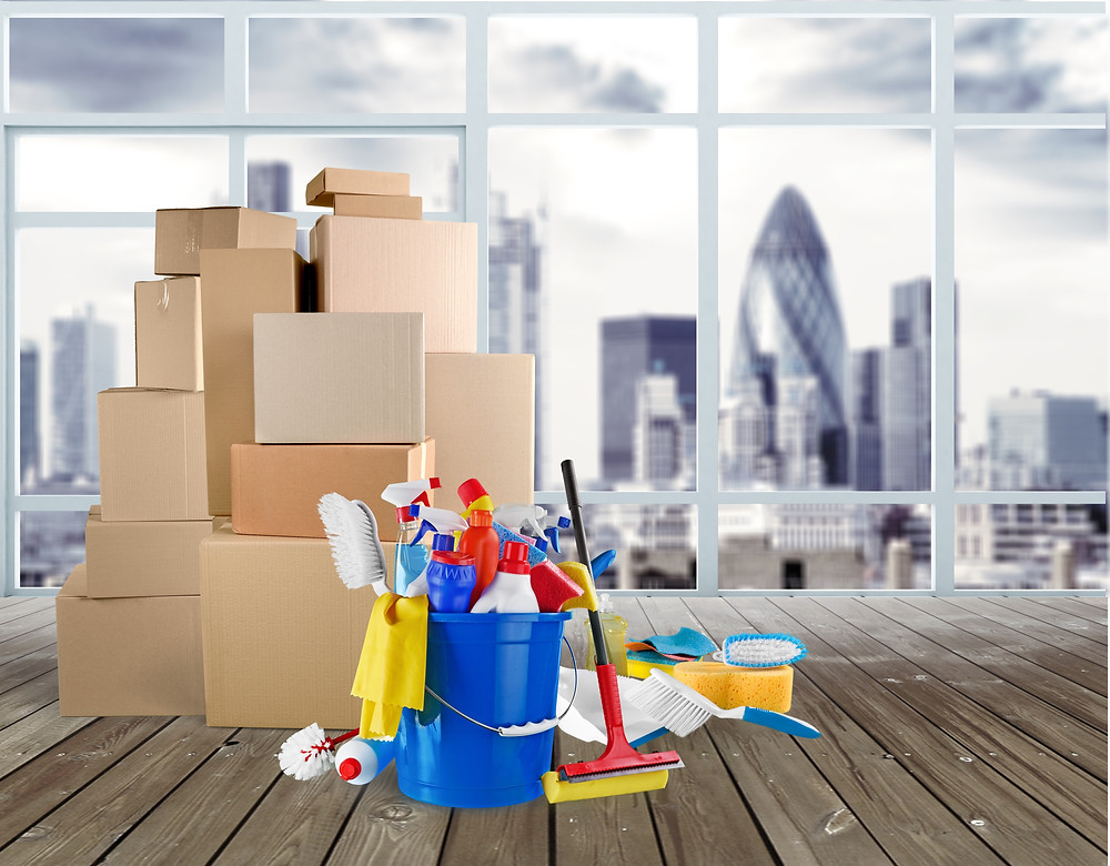 End of Lease Cleaning: Boxes, cleaning supplies