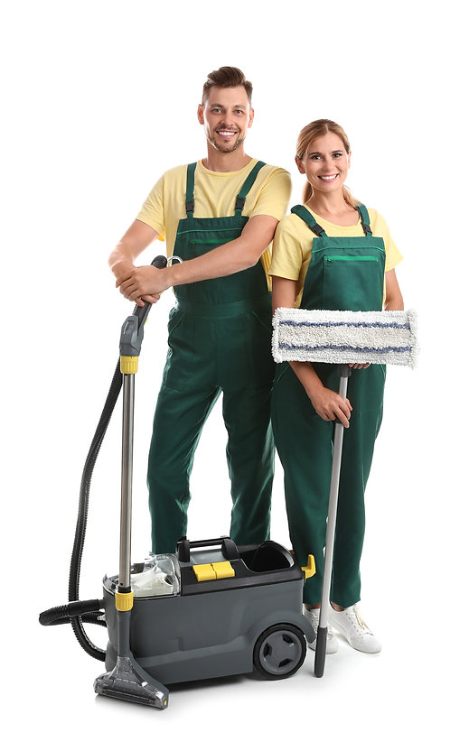 Home Cleaning in North West London - Two cleaners in Green Uniform with Cleaning Equipment