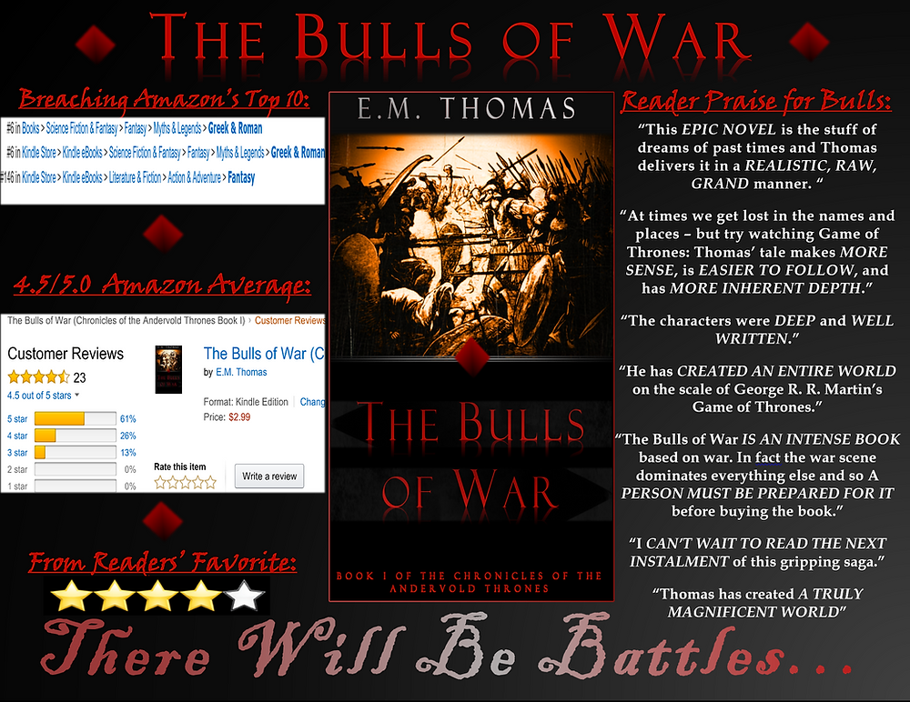 Most recent ad for E.M. Thomas's The Bulls of War!