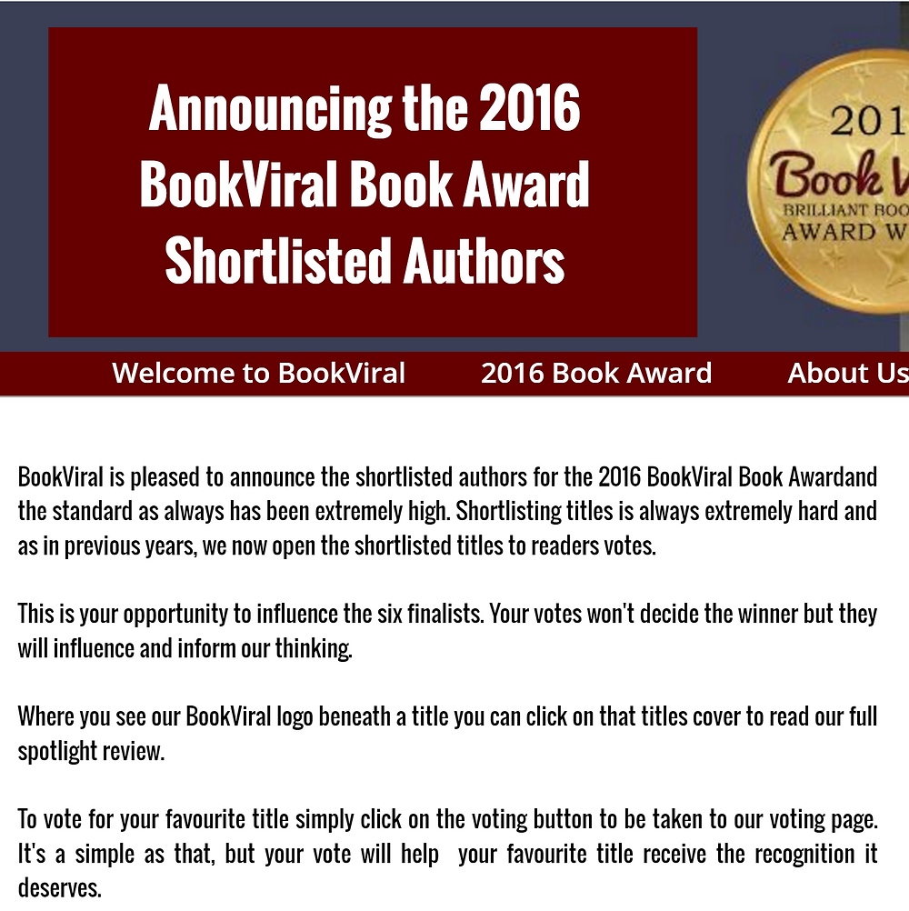 The Bulls of War is on the shortlist -- for the 2016 BookViral Awards!  Click here and vote!