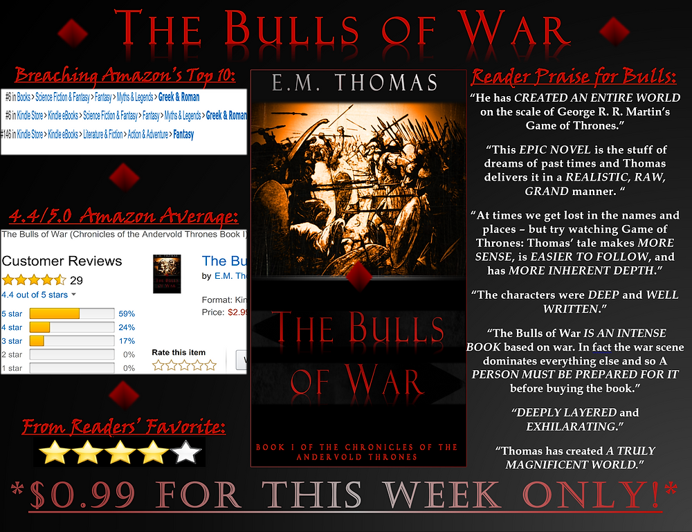 My ubiquitous The Bulls of War ad for the coming week!