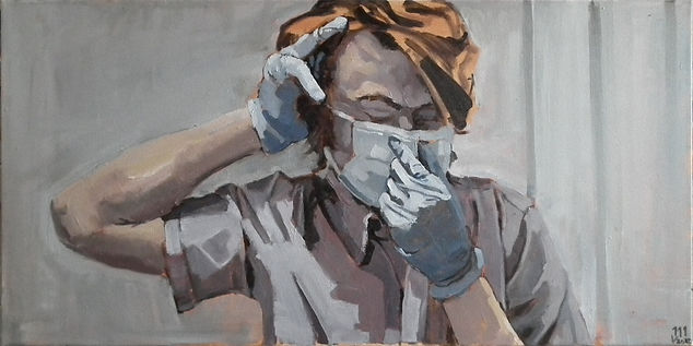 Mask: An oil painting of a human figure with orange hair in blue medical scrubs putting on a blue medical mask against a muted grey background. One of the figure's hands is positioned at the back of his head while the other is affixing their mask in place.