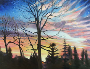 "Painting of dark tree silhouettes against sky of pinks, oranges, and blues titled ""Sunrise Titan"" by artist Pat Rice"