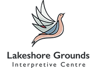 Logo of the Lakeshore Grounds Interpretive Centre featuring an illustration of a Passenger Pigeon in flight