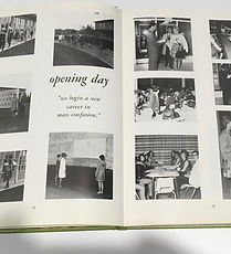 """Photo collage on two pages in open book. Words """"opening day"""" can be read."""