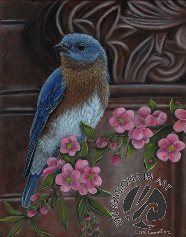 Bluebird and Blossoms, Lisa Compton