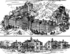 Drawing of the tradtional U-shape layout of the Toronto Asylum building compared to the indvidual buildings of the Mimico Aslum